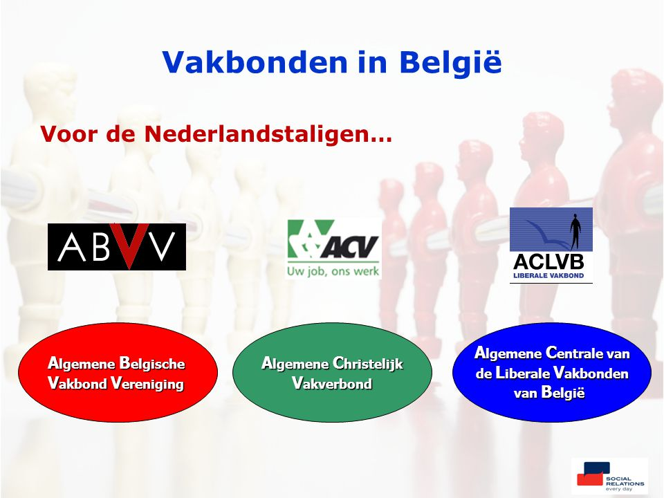 Vakbonden in België Voor de Nederlandstaligen… A lgemene B elgische V akbond V ereniging A lgemene C hristelijk V akverbond A lgemene C entrale van de L iberale V akbonden van B elgië