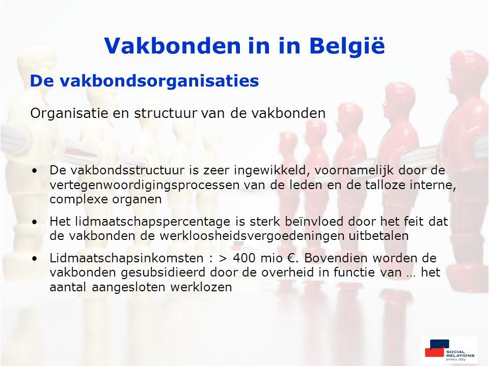 Vakbonden in in België De vakbondsorganisaties Organisatie en structuur van de vakbonden •De vakbondsstructuur is zeer ingewikkeld, voornamelijk door de vertegenwoordigingsprocessen van de leden en de talloze interne, complexe organen •Het lidmaatschapspercentage is sterk beïnvloed door het feit dat de vakbonden de werkloosheidsvergoedeningen uitbetalen •Lidmaatschapsinkomsten : > 400 mio €.