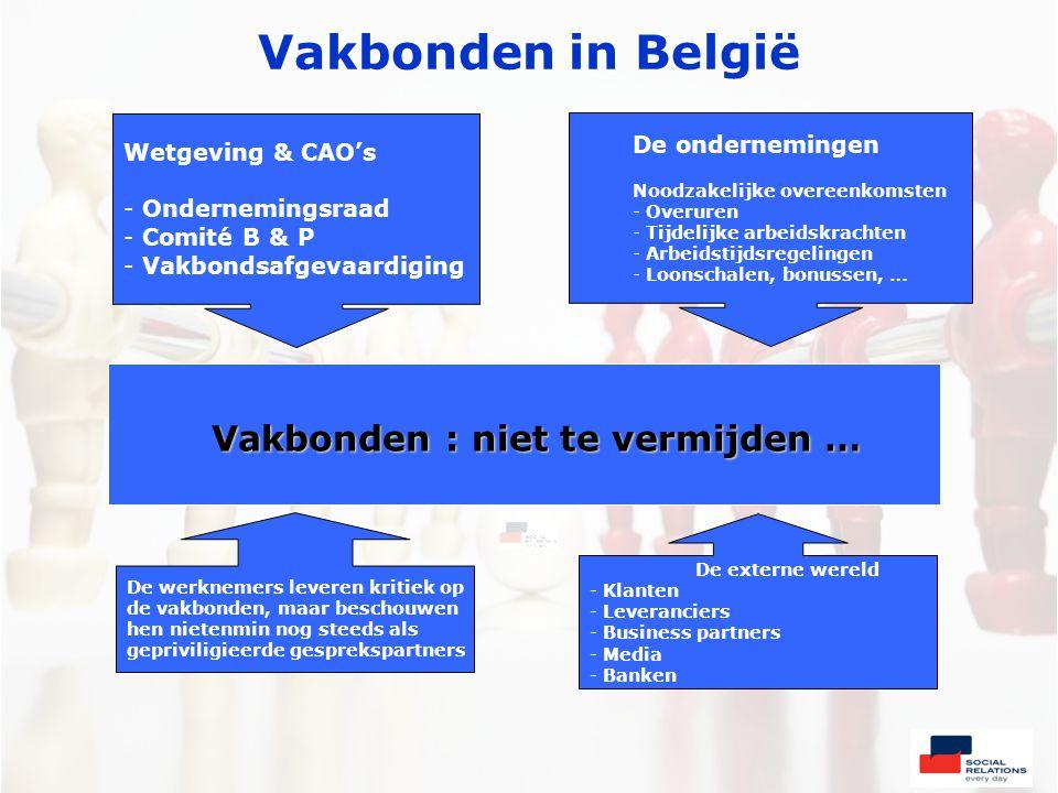 Vakbonden in België Vakbonden : niet te vermijden … Wetgeving & CAO's - Ondernemingsraad - Comité B & P - Vakbondsafgevaardiging De ondernemingen Noodzakelijke overeenkomsten - Overuren - Tijdelijke arbeidskrachten - Arbeidstijdsregelingen - Loonschalen, bonussen, … De werknemers leveren kritiek op de vakbonden, maar beschouwen hen nietenmin nog steeds als gepriviligieerde gesprekspartners De externe wereld - Klanten - Leveranciers - Business partners - Media - Banken