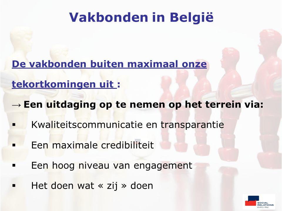 Vakbonden in België De vakbonden buiten maximaal onze tekortkomingen uit : → Een uitdaging op te nemen op het terrein via:  Kwaliteitscommunicatie en transparantie  Een maximale credibiliteit  Een hoog niveau van engagement  Het doen wat « zij » doen