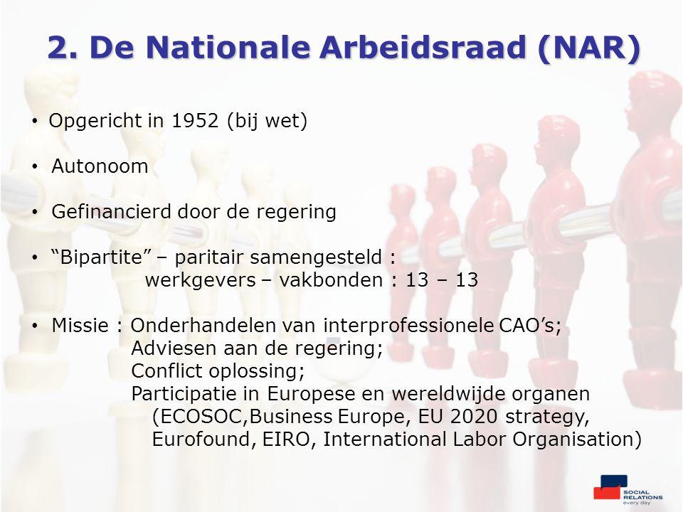 """2. De Nationale Arbeidsraad (NAR) • Opgericht in 1952 (bij wet) • Autonoom • Gefinancierd door de regering • """"Bipartite"""" – paritair samengesteld : wer"""
