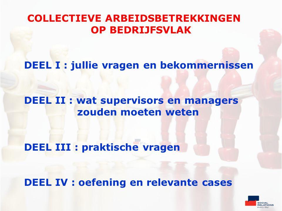Vakbonden in België De vakbondsorganisaties Resultaten van de sociale verkiezingen in 2004-2008-2012 2012 : ABVV : 35,4 % ACV : 51,7 % ACLVB : 11,3 % NVK : 1,02 % Anderen : 0,5 %