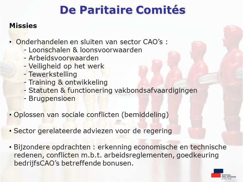 De Paritaire Comités Missies • Onderhandelen en sluiten van sector CAO's : - Loonschalen & loonsvoorwaarden - Arbeidsvoorwaarden - Veiligheid op het werk - Tewerkstelling - Training & ontwikkeling - Statuten & functionering vakbondsafvaardigingen - Brugpensioen • Oplossen van sociale conflicten (bemiddeling) • Sector gerelateerde adviezen voor de regering • Bijzondere opdrachten : erkenning economische en technische redenen, conflicten m.b.t.