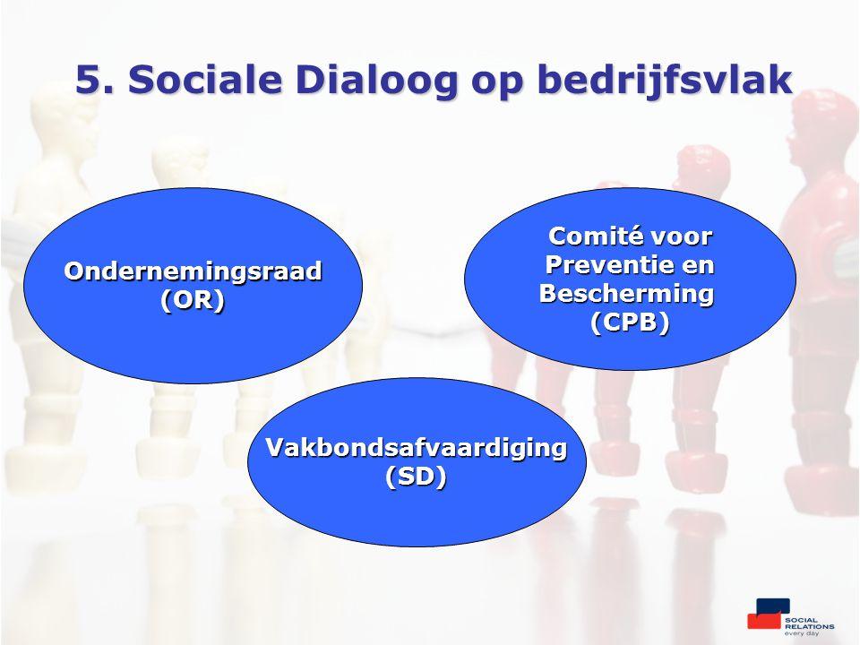 5. Sociale Dialoog op bedrijfsvlak Comité voor Preventie en Bescherming(CPB)Ondernemingsraad(OR) Vakbondsafvaardiging(SD)