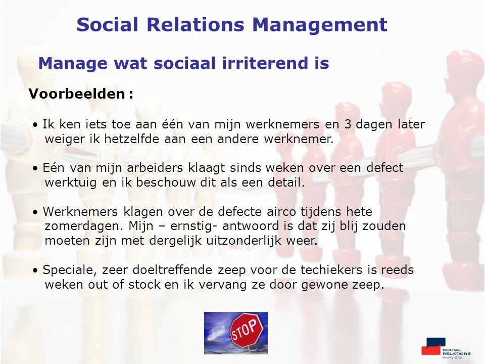 Voorbeelden : Manage wat sociaal irriterend is • Ik ken iets toe aan één van mijn werknemers en 3 dagen later weiger ik hetzelfde aan een andere werknemer.