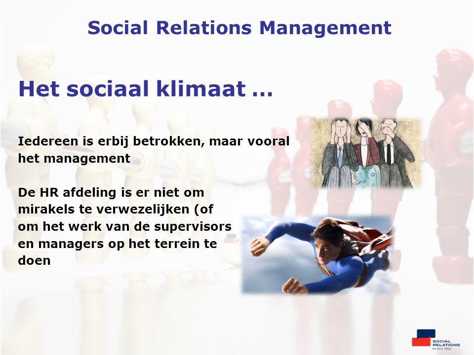 Het sociaal klimaat … Iedereen is erbij betrokken, maar vooral het management De HR afdeling is er niet om mirakels te verwezelijken (of om het werk van de supervisors en managers op het terrein te doen