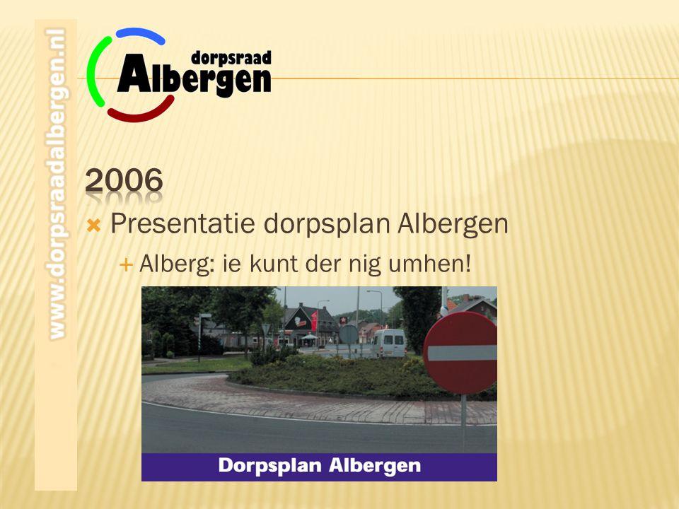  Presentatie dorpsplan Albergen  Alberg: ie kunt der nig umhen!