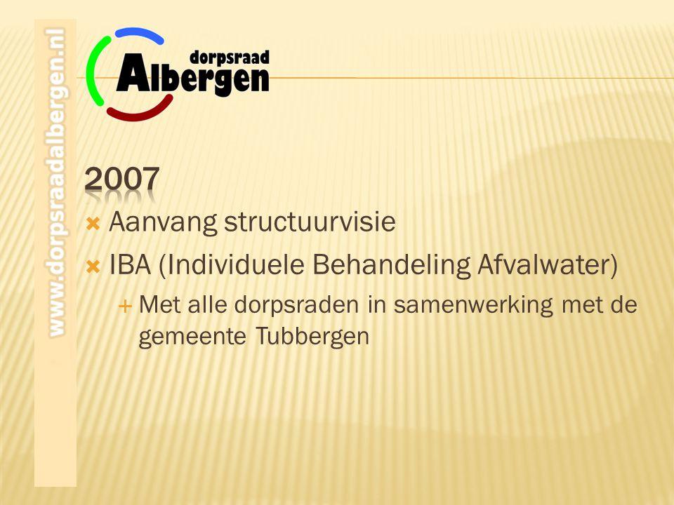  IBA (Individuele Behandeling Afvalwater)  Met alle dorpsraden in samenwerking met de gemeente Tubbergen  Aanvang structuurvisie
