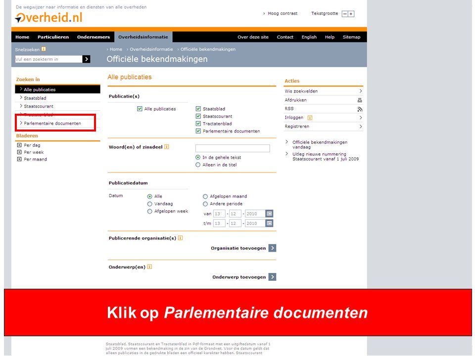 6 Klik op Parlementaire documenten