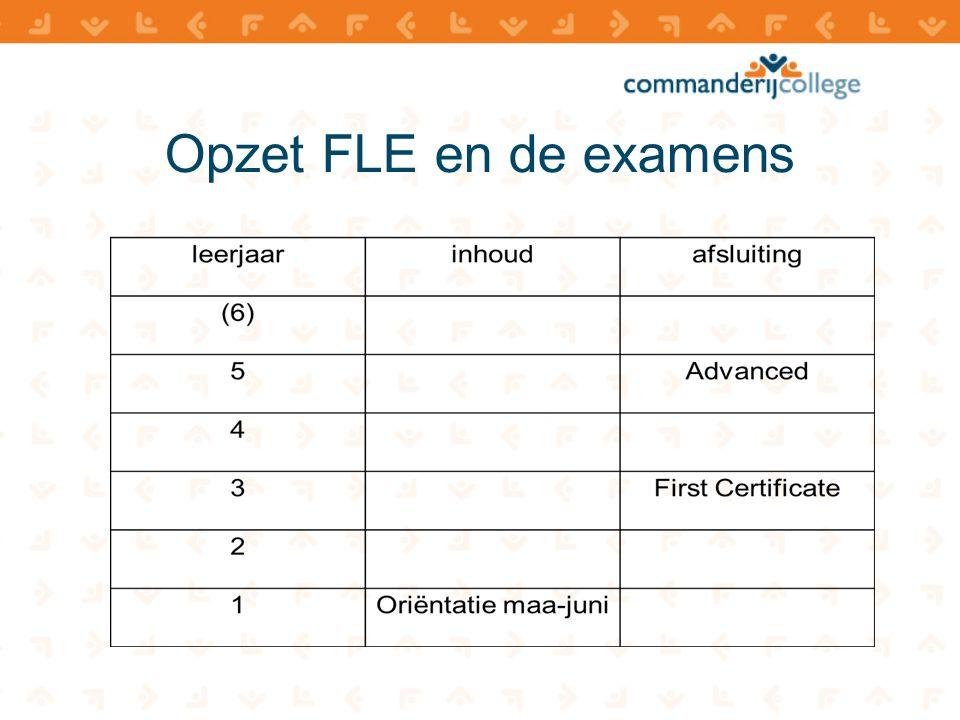 Opzet FLE en de examens