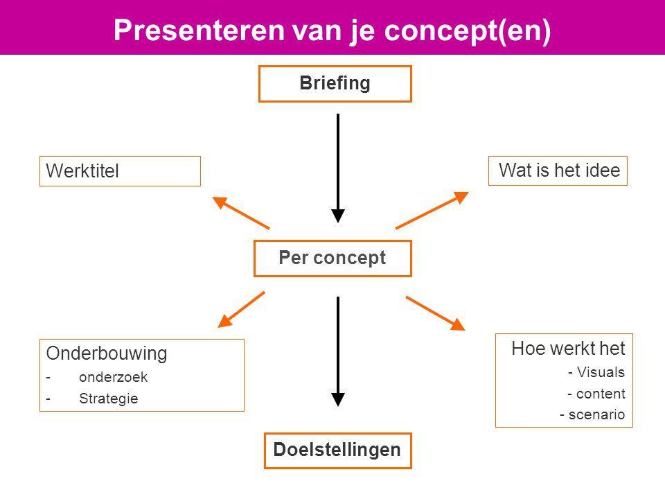 Per concept Werktitel Wat is het idee Hoe werkt het - Visuals - content - scenario Onderbouwing -onderzoek -Strategie Doelstellingen Briefing Presenteren van je concept(en)