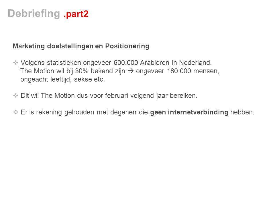 Marketing doelstellingen en Positionering  Volgens statistieken ongeveer 600.000 Arabieren in Nederland.