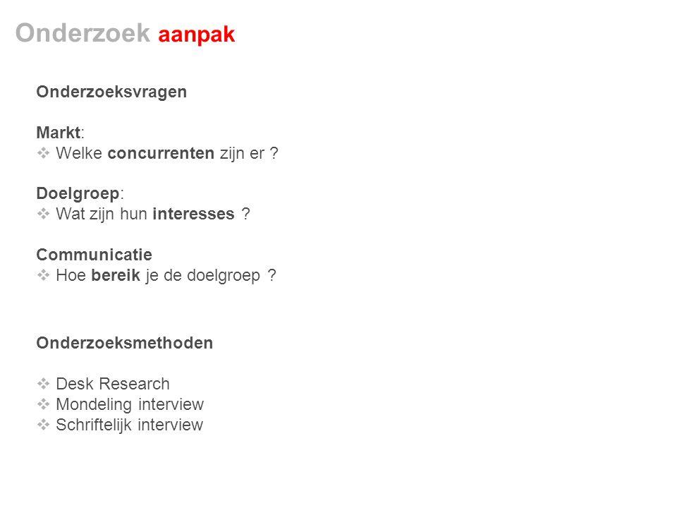 Onderzoek aanpak Onderzoeksvragen Markt:  Welke concurrenten zijn er .