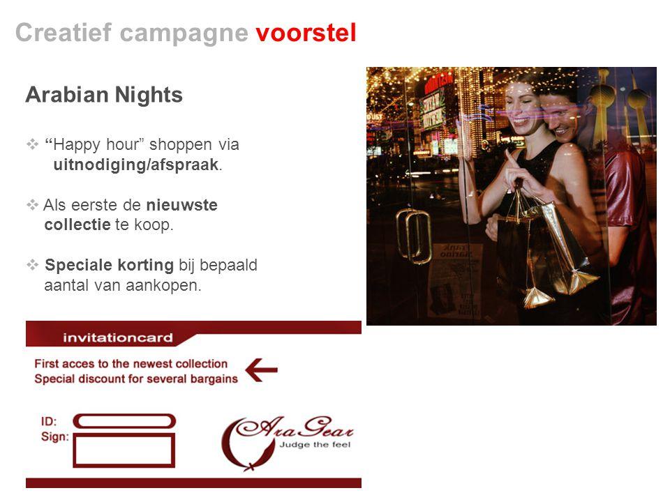 Creatief campagne voorstel Arabian Nights  Happy hour shoppen via uitnodiging/afspraak.