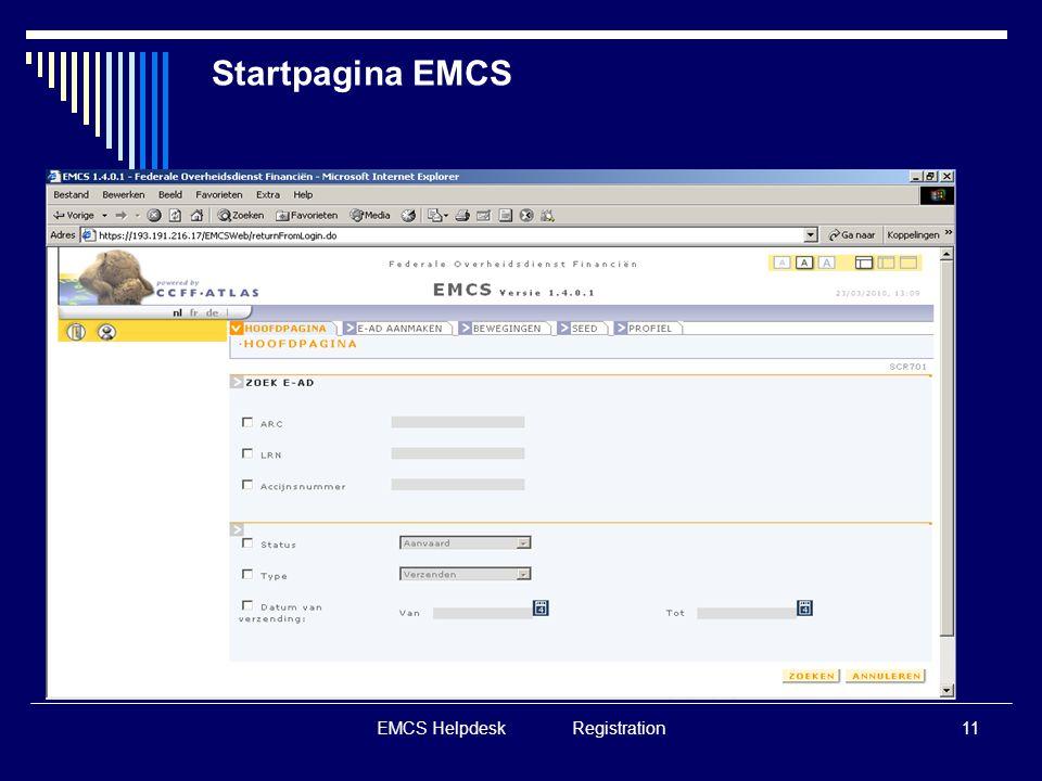 EMCS Helpdesk Registration11 Startpagina EMCS