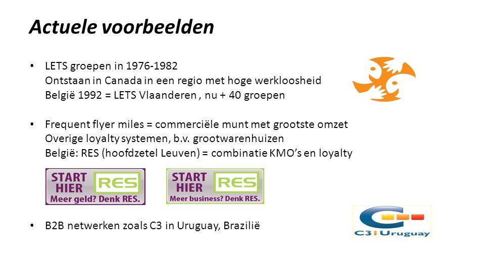 Actuele voorbeelden • LETS groepen in 1976-1982 Ontstaan in Canada in een regio met hoge werkloosheid België 1992 = LETS Vlaanderen, nu + 40 groepen • Frequent flyer miles = commerciële munt met grootste omzet Overige loyalty systemen, b.v.