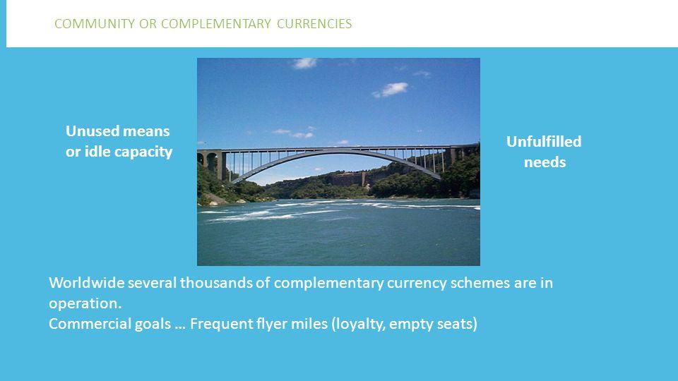 Er zijn wereldwijd duizenden complementaire muntsystemen… Voorbeelden: • Fureai Kippu (Japan, zorg) • LETS, Time Dollar (USA), WeHelpen (Nederland), Makkie (Amsterdam) • Brixton Pound (London), Chiemgauer, (Beieren), Torekes (lokale economie, verenigingen) • WIR Bank (Zwitserland, °1934) en RES (Vlaanderen, °1995) (KMO's) Kortbij en veraf ANDERE VOORBEELDEN