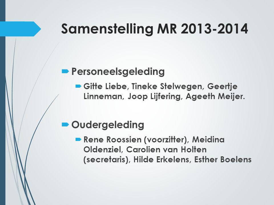 Samenstelling MR 2013-2014  Personeelsgeleding  Gitte Liebe, Tineke Stelwegen, Geertje Linneman, Joop Lijfering, Ageeth Meijer.  Oudergeleding  Re