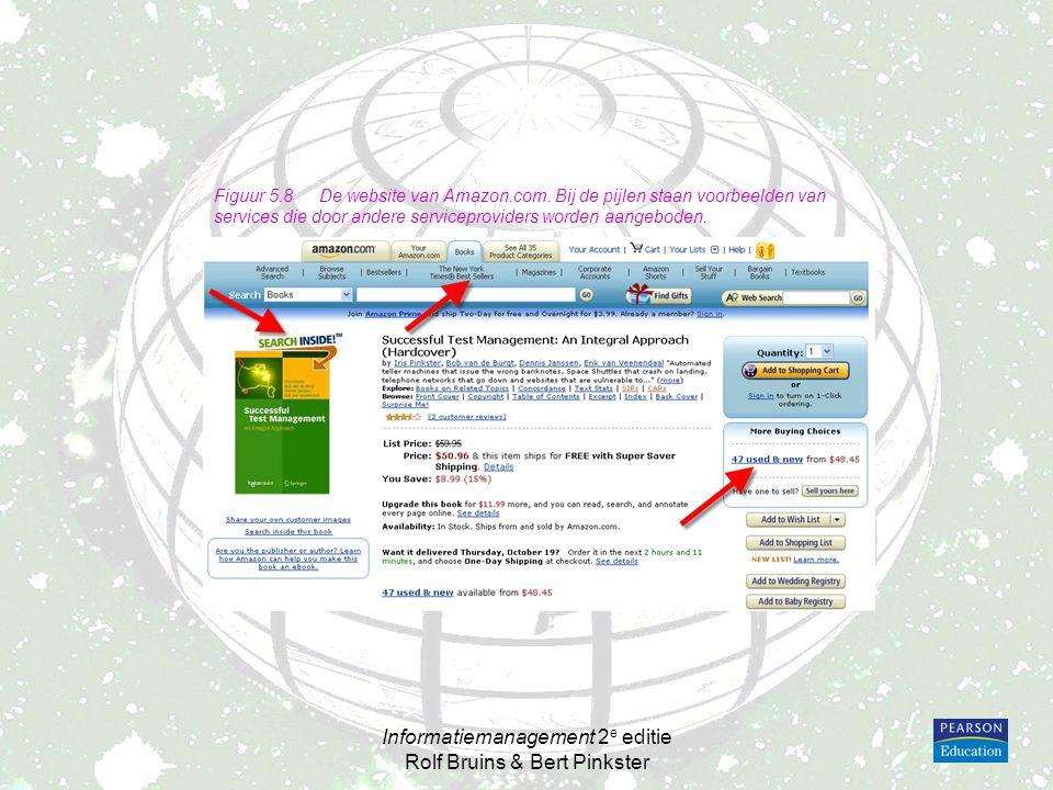 Informatiemanagement 2 e editie Rolf Bruins & Bert Pinkster Figuur 5.8De website van Amazon.com. Bij de pijlen staan voorbeelden van services die door