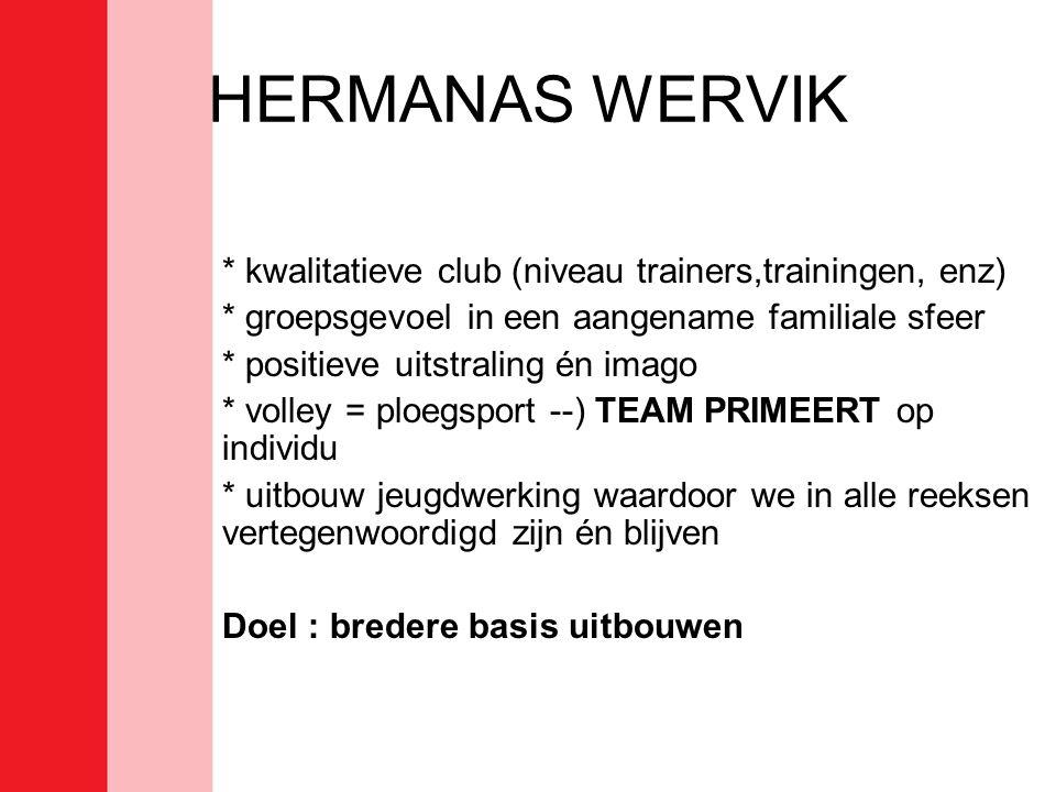HERMANAS WERVIK * kwalitatieve club (niveau trainers,trainingen, enz) * groepsgevoel in een aangename familiale sfeer * positieve uitstraling én imago