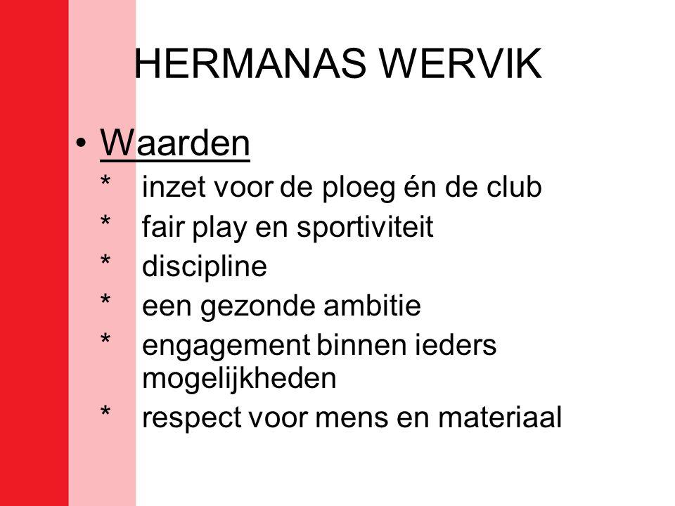 HERMANAS WERVIK •Waarden *inzet voor de ploeg én de club * fair play en sportiviteit * discipline *een gezonde ambitie *engagement binnen ieders mogelijkheden * respect voor mens en materiaal