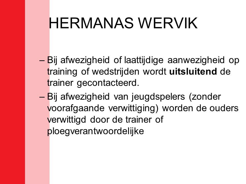 HERMANAS WERVIK –Bij afwezigheid of laattijdige aanwezigheid op training of wedstrijden wordt uitsluitend de trainer gecontacteerd. –Bij afwezigheid v