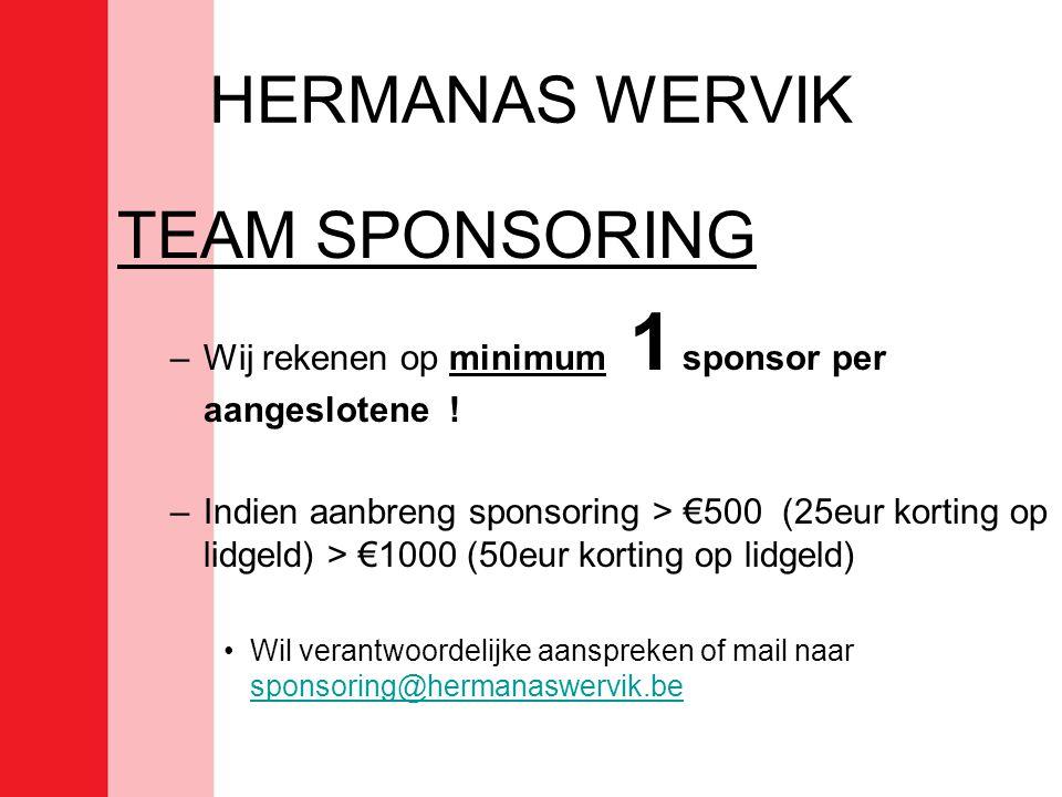 HERMANAS WERVIK TEAM SPONSORING –Wij rekenen op minimum 1 sponsor per aangeslotene .
