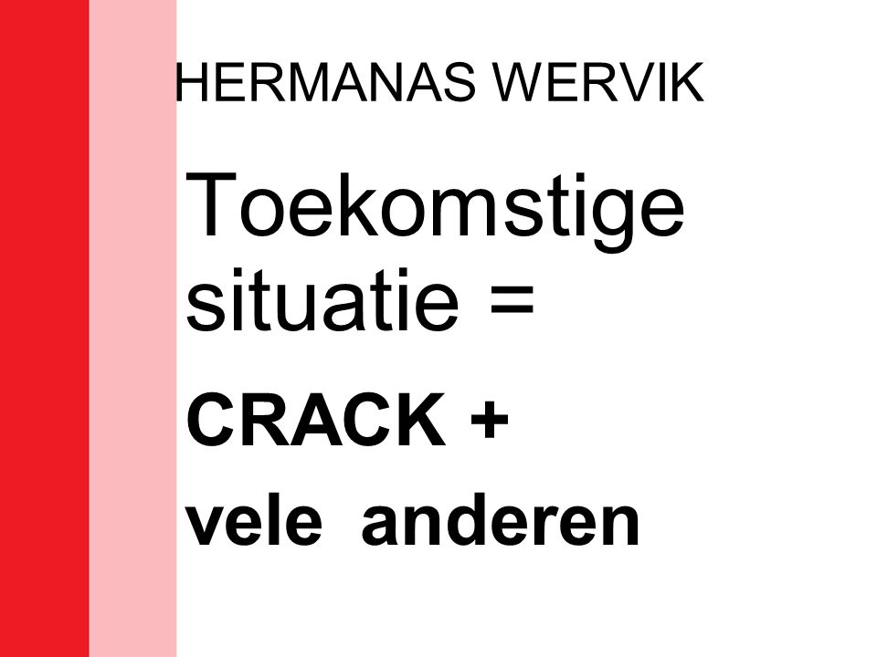 HERMANAS WERVIK Toekomstige situatie = CRACK + vele anderen