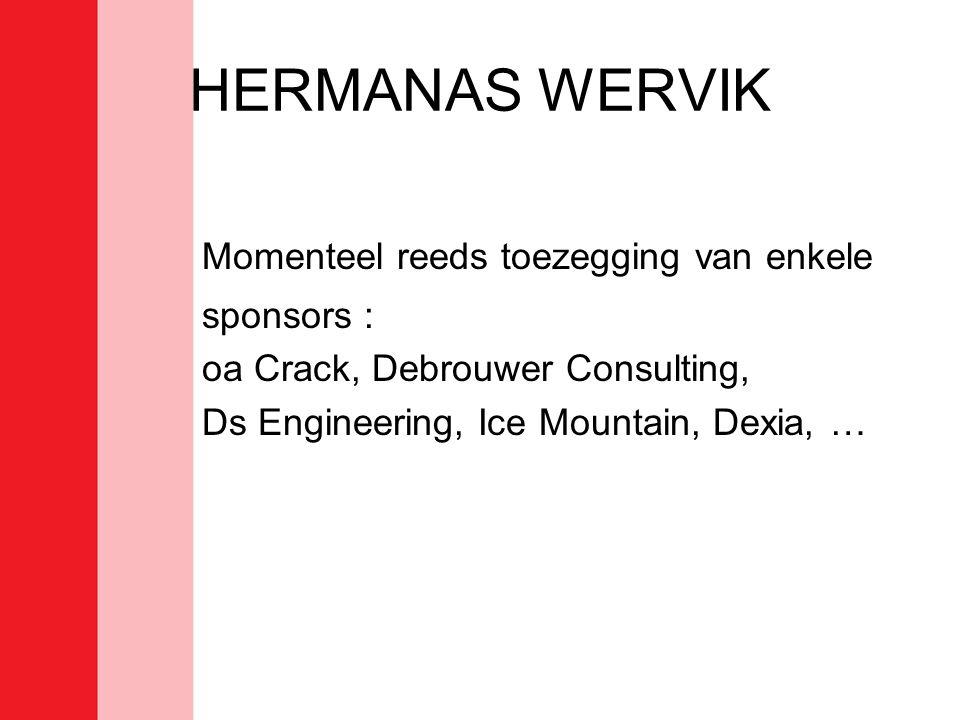 HERMANAS WERVIK Momenteel reeds toezegging van enkele sponsors : oa Crack, Debrouwer Consulting, Ds Engineering, Ice Mountain, Dexia, …