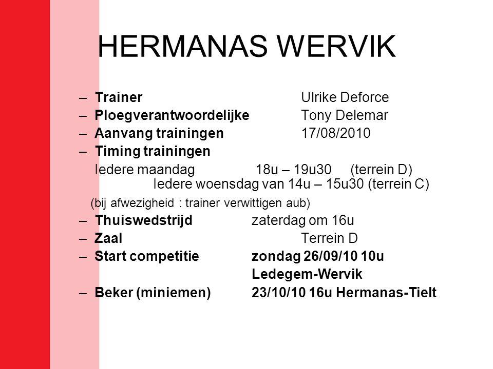 HERMANAS WERVIK –TrainerUlrike Deforce –PloegverantwoordelijkeTony Delemar –Aanvang trainingen17/08/2010 –Timing trainingen Iedere maandag 18u – 19u30