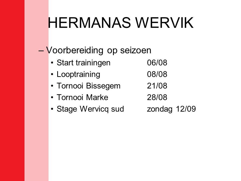 HERMANAS WERVIK –Voorbereiding op seizoen •Start trainingen 06/08 •Looptraining08/08 •Tornooi Bissegem21/08 •Tornooi Marke28/08 •Stage Wervicq sudzondag 12/09