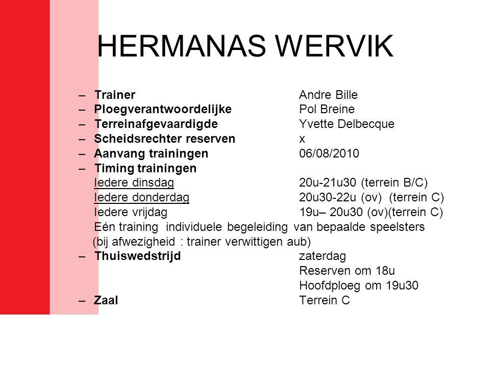 HERMANAS WERVIK –TrainerAndre Bille –PloegverantwoordelijkePol Breine –TerreinafgevaardigdeYvette Delbecque –Scheidsrechter reservenx –Aanvang trainin