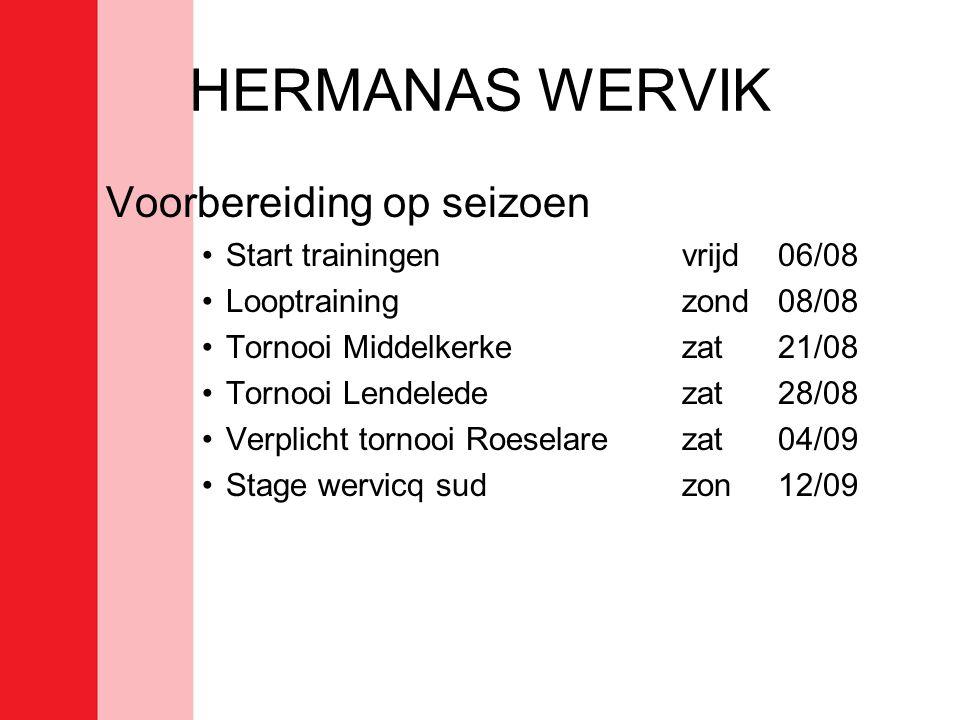 HERMANAS WERVIK Voorbereiding op seizoen •Start trainingen vrijd 06/08 •Looptrainingzond08/08 •Tornooi Middelkerkezat21/08 •Tornooi Lendeledezat28/08 •Verplicht tornooi Roeselarezat04/09 •Stage wervicq sudzon12/09