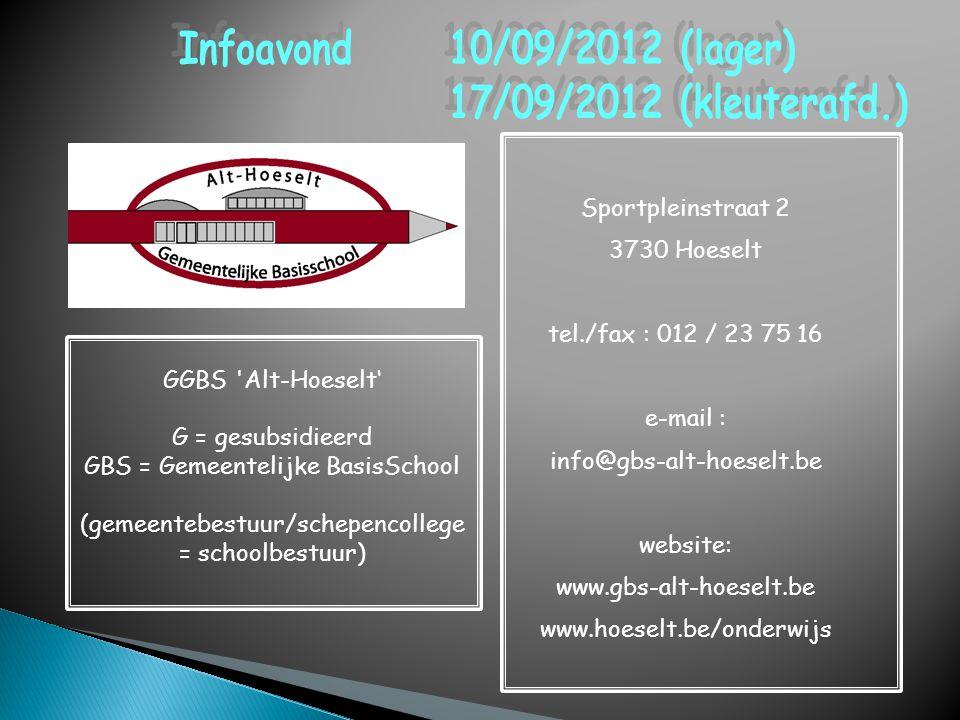 Sportpleinstraat 2 3730 Hoeselt tel./fax : 012 / 23 75 16 e-mail : info@gbs-alt-hoeselt.be website: www.gbs-alt-hoeselt.be www.hoeselt.be/onderwijs GG