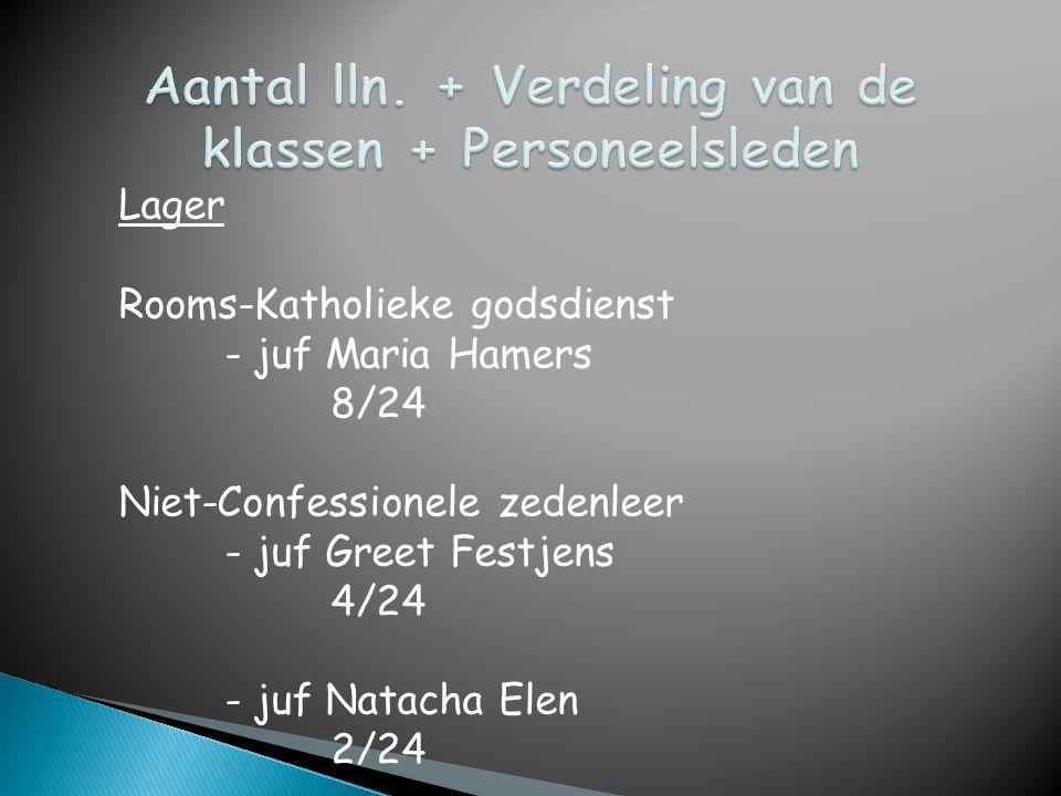 Lager Rooms-Katholieke godsdienst - juf Maria Hamers 8/24 Niet-Confessionele zedenleer - juf Greet Festjens 4/24 - juf Natacha Elen 2/24