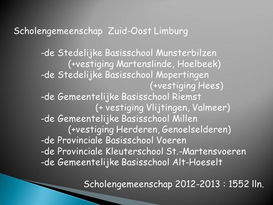 Scholengemeenschap Zuid-Oost Limburg -de Stedelijke Basisschool Munsterbilzen (+vestiging Martenslinde, Hoelbeek) -de Stedelijke Basisschool Moperting