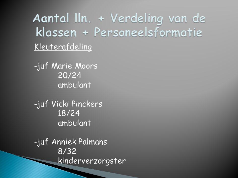 Kleuterafdeling -juf Marie Moors 20/24 ambulant -juf Vicki Pinckers 18/24 ambulant -juf Anniek Palmans 8/32 kinderverzorgster