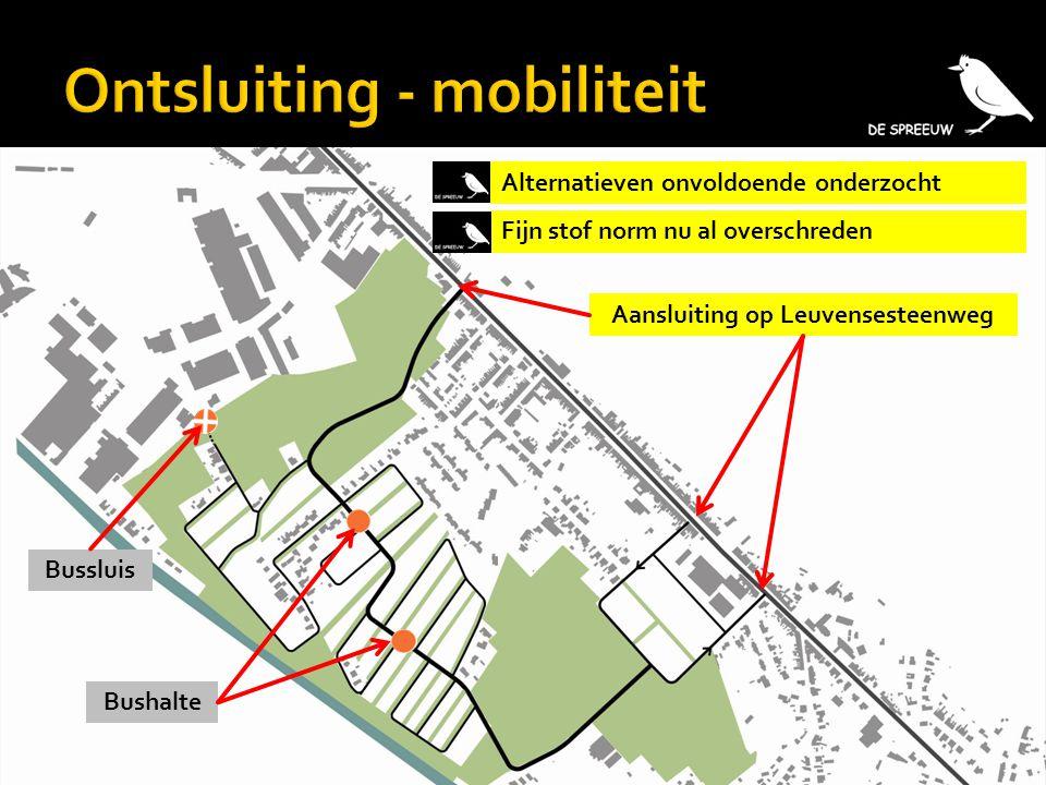 Aansluiting op Leuvensesteenweg Alternatieven onvoldoende onderzocht Fijn stof norm nu al overschreden Bushalte Bussluis