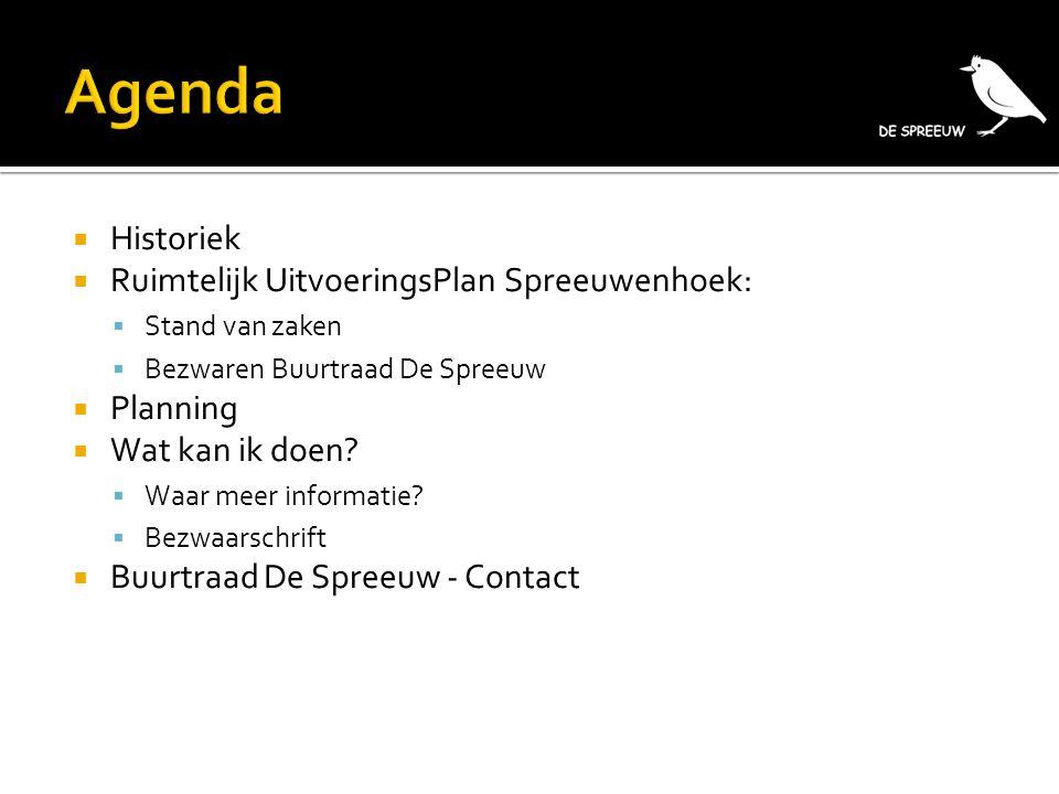  Historiek  Ruimtelijk UitvoeringsPlan Spreeuwenhoek:  Stand van zaken  Bezwaren Buurtraad De Spreeuw  Planning  Wat kan ik doen?  Waar meer in