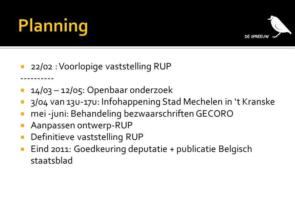  22/02 : Voorlopige vaststelling RUP ----------  14/03 – 12/05: Openbaar onderzoek  3/04 van 13u-17u: Infohappening Stad Mechelen in 't Kranske  m