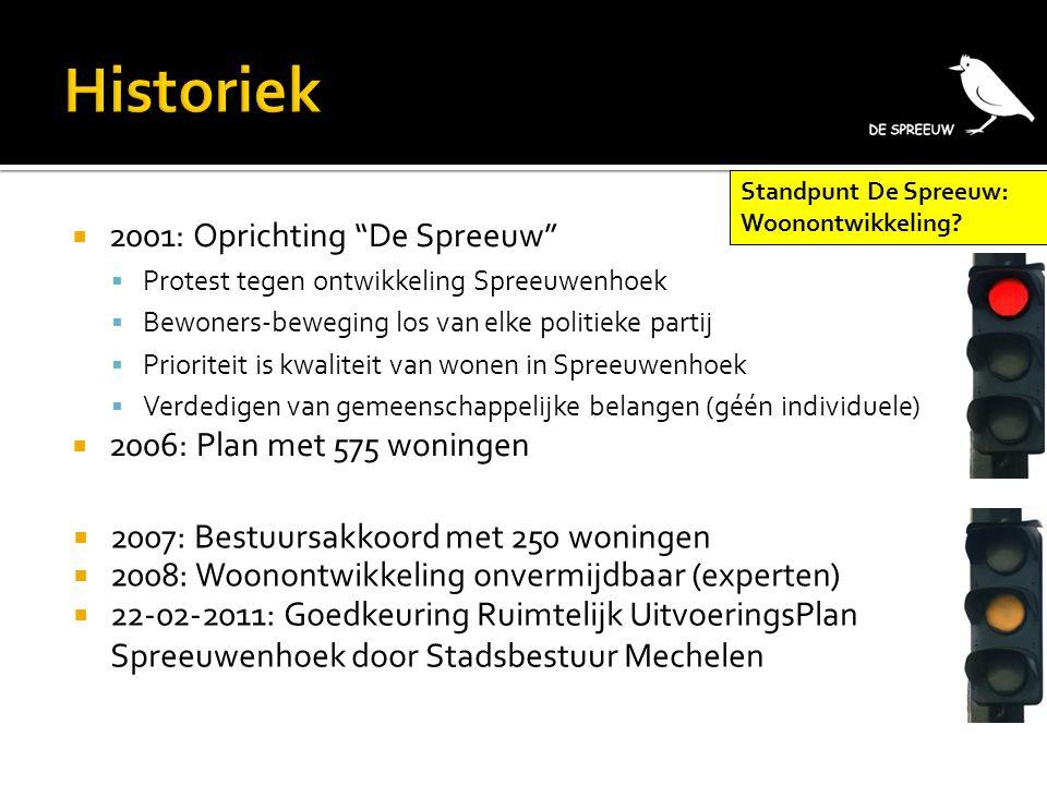""" 2001: Oprichting """"De Spreeuw""""  Protest tegen ontwikkeling Spreeuwenhoek  Bewoners-beweging los van elke politieke partij  Prioriteit is kwaliteit"""
