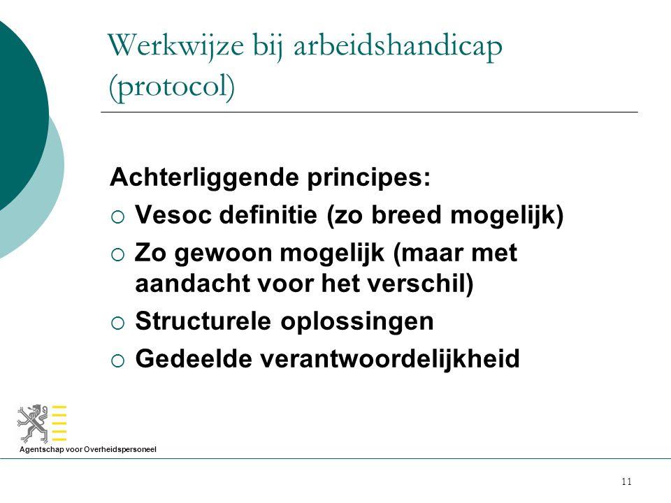 Agentschap voor Overheidspersoneel 11 Werkwijze bij arbeidshandicap (protocol) Achterliggende principes:  Vesoc definitie (zo breed mogelijk)  Zo ge