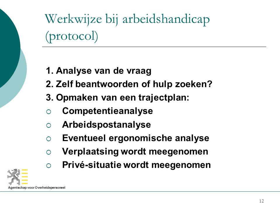 Agentschap voor Overheidspersoneel 12 Werkwijze bij arbeidshandicap (protocol) 1. Analyse van de vraag 2. Zelf beantwoorden of hulp zoeken? 3. Opmaken