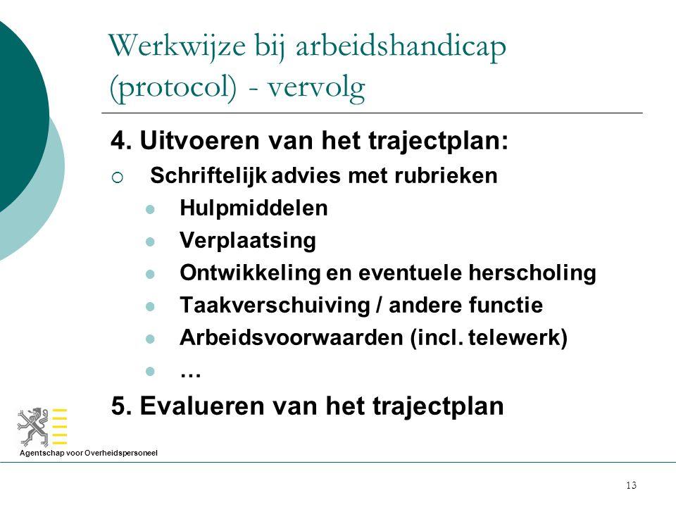 Agentschap voor Overheidspersoneel 13 Werkwijze bij arbeidshandicap (protocol) - vervolg 4. Uitvoeren van het trajectplan:  Schriftelijk advies met r
