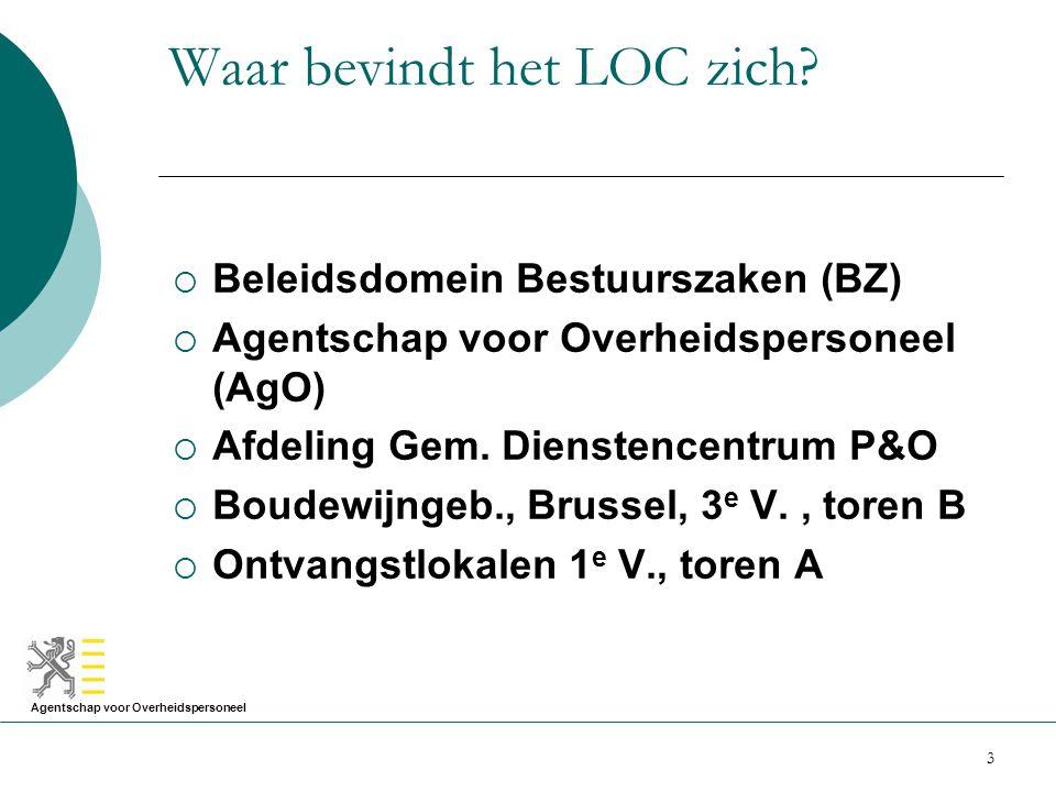 Agentschap voor Overheidspersoneel 3 Waar bevindt het LOC zich?  Beleidsdomein Bestuurszaken (BZ)  Agentschap voor Overheidspersoneel (AgO)  Afdeli