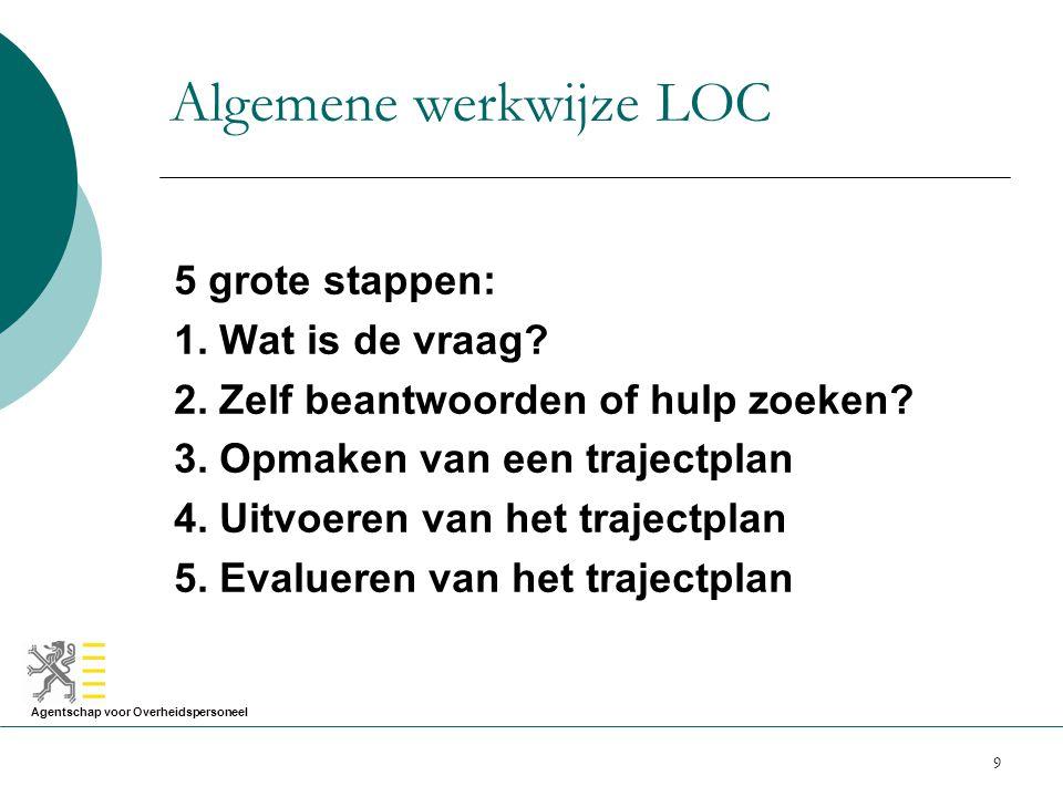 Agentschap voor Overheidspersoneel 9 Algemene werkwijze LOC 5 grote stappen: 1. Wat is de vraag? 2. Zelf beantwoorden of hulp zoeken? 3. Opmaken van e