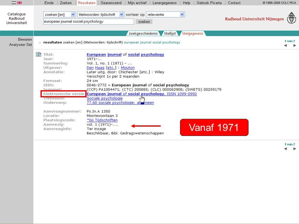 Vanaf 1996 t/m 2004 Vanaf 1996 Directe links naar de elektronische versie van het tijdschrift.