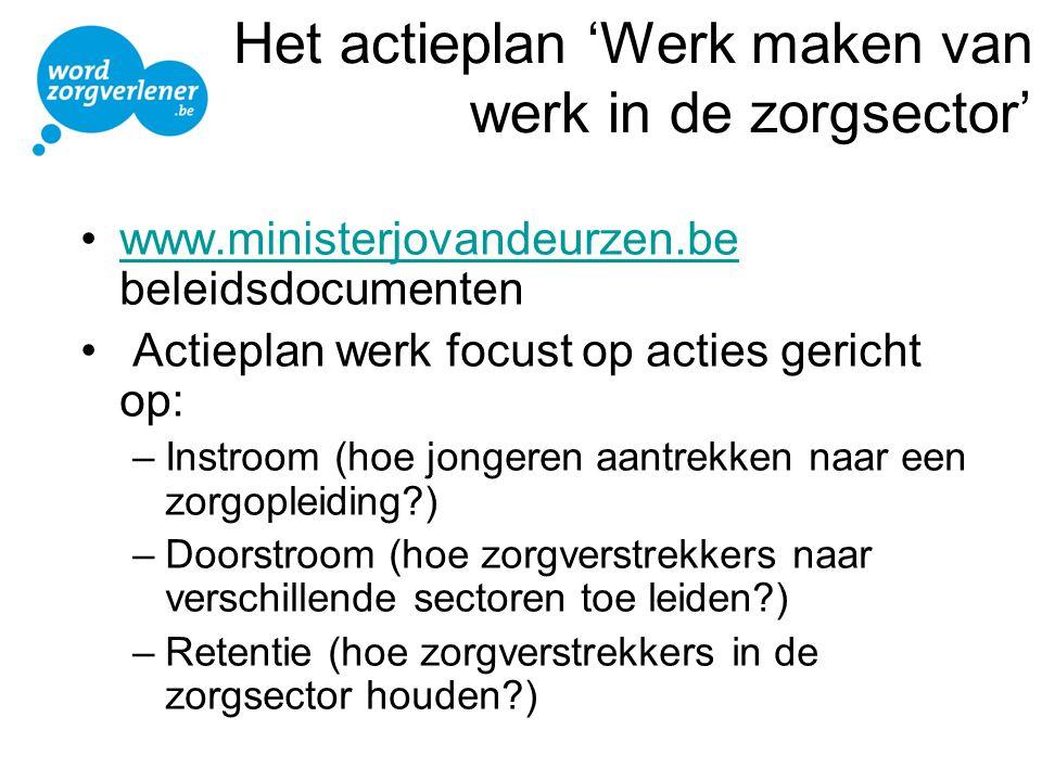 Het actieplan 'Werk maken van werk in de zorgsector' •www.ministerjovandeurzen.be beleidsdocumentenwww.ministerjovandeurzen.be • Actieplan werk focust