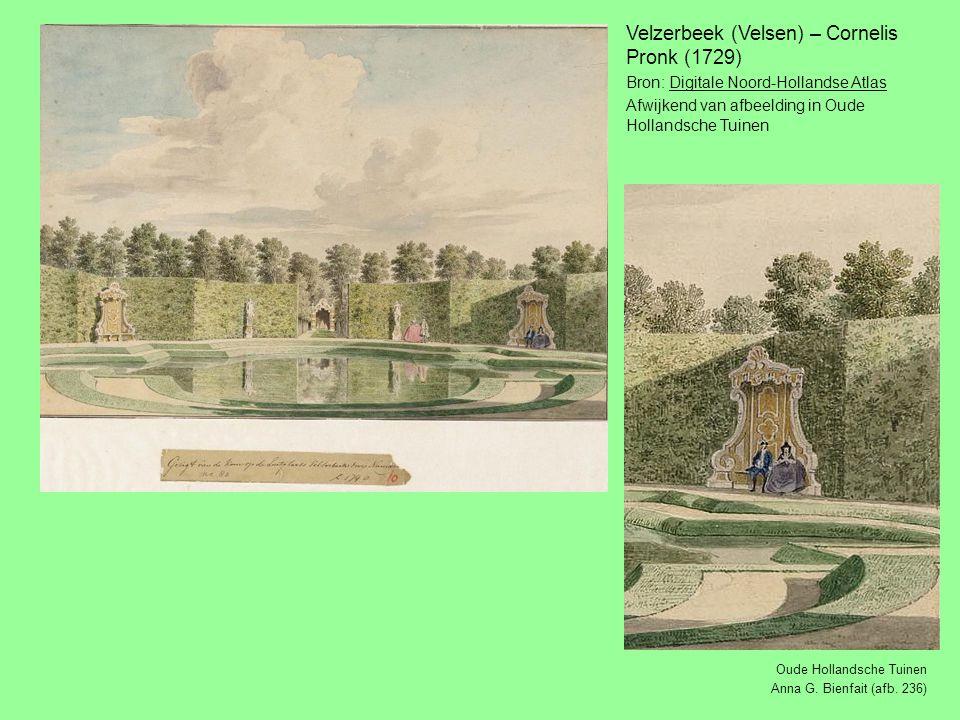 Velzerbeek (Velsen) – Cornelis Pronk (1729) Bron: Digitale Noord-Hollandse AtlasDigitale Noord-Hollandse Atlas Afwijkend van afbeelding in Oude Hollandsche Tuinen Oude Hollandsche Tuinen Anna G.