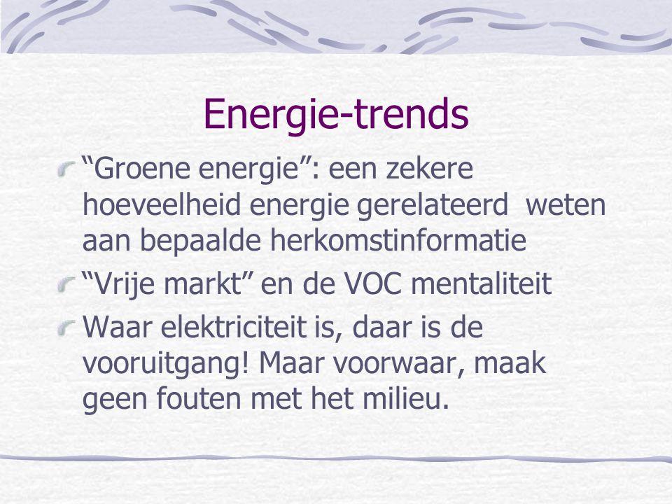 """Energie-trends """"Groene energie"""": een zekere hoeveelheid energie gerelateerd weten aan bepaalde herkomstinformatie """"Vrije markt"""" en de VOC mentaliteit"""